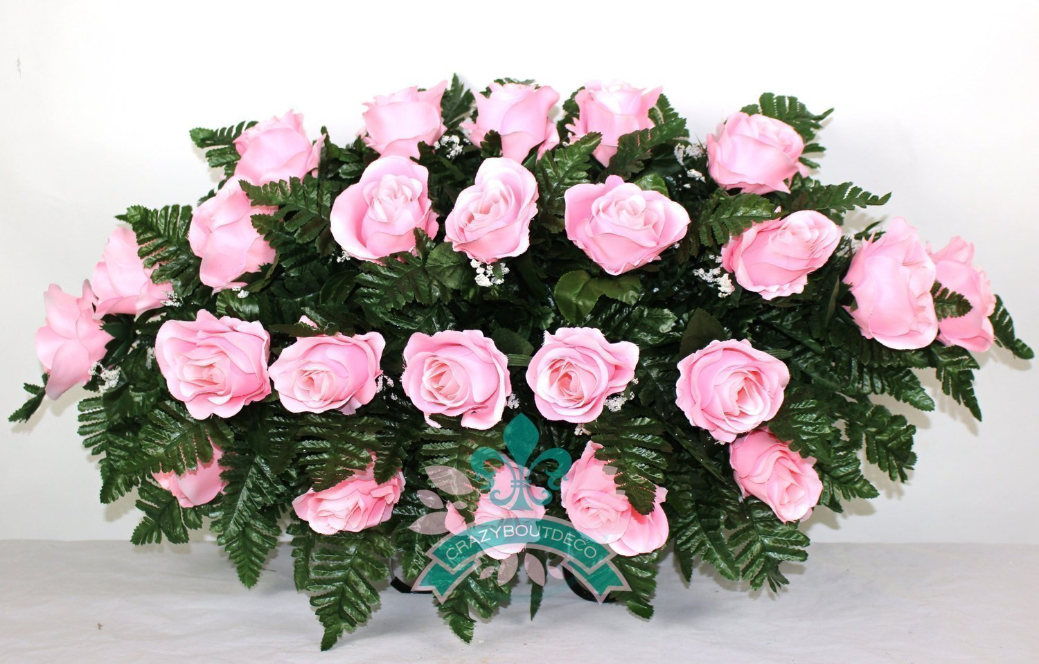 Beautiful-XL-Pink-Rose-Tombstone-Headstone-Saddle
