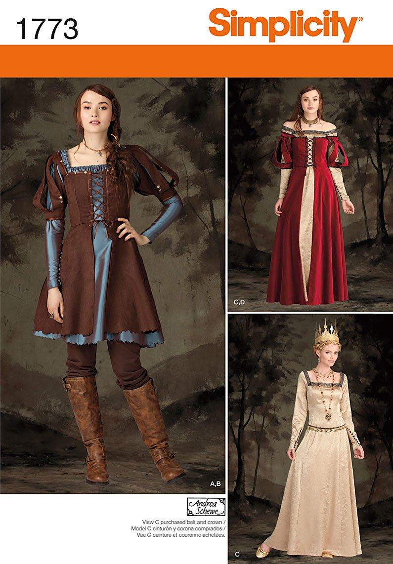 Simplicity Pattern 1773 H5 Misses' Costume Medieval Dress in Two Lengths, Size 6-8-10-12-14 Simplicity Creative Patterns US1773H5