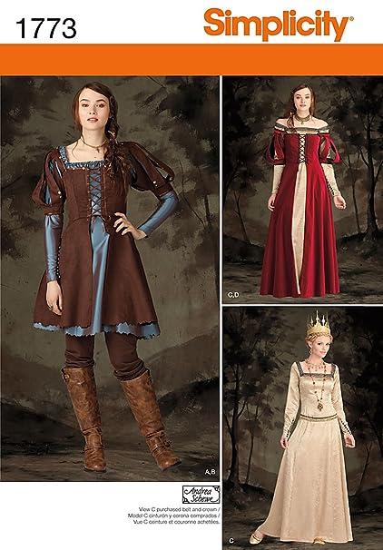 Amazon.com: Simplicity Pattern 1773 H5 Misses\' Costume Medieval ...