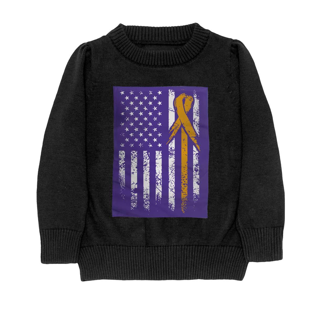 WWTBBJ-B Leukemia Awareness American Flag Fashion Teenager Boys Girls Unisex Sweater Keep Warm