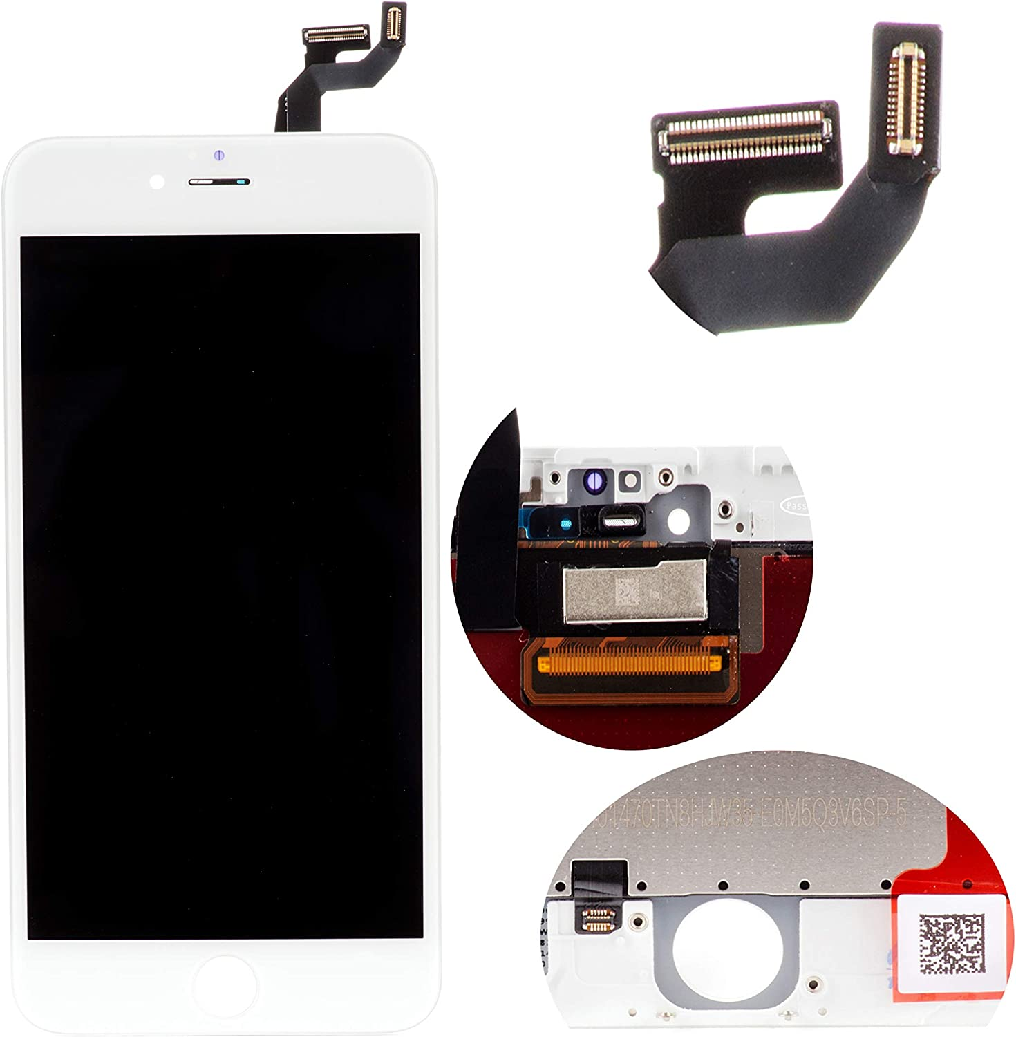 Front Glass LCD Screen Digitizer Assembly Frame Full Set Display Touchscreen Replacement Compatible with iPhone 7 Plus 5.5 Inch White
