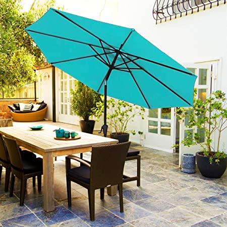 FRUITEAM 9ft Outdoor Patio Umbrella Steel Pole, 1.5in Diameter Aluminum 8 Ribs Market Umbrella, Thickened Waterproof UV Protection Garden Umbrella Turquoise 1 Year Warranty Gifts for Mom
