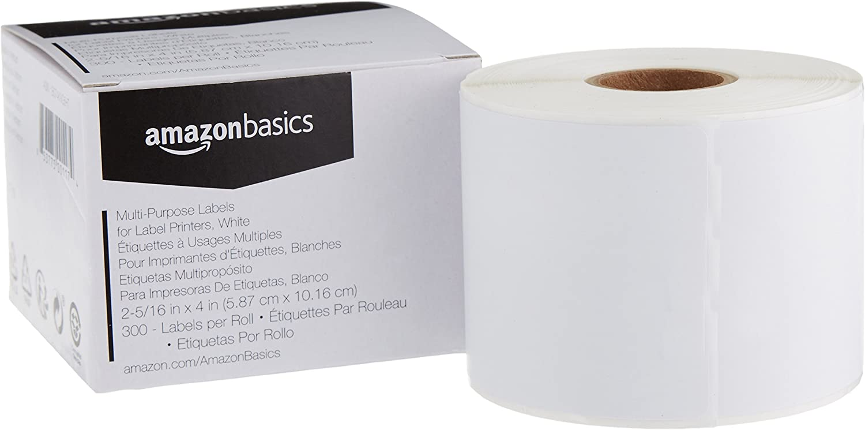 AmazonBasics Multi-Purpose Labels for Label Printers, White, 2-5/16 x 4 Inch, 300 Labels per Roll, 1 Roll
