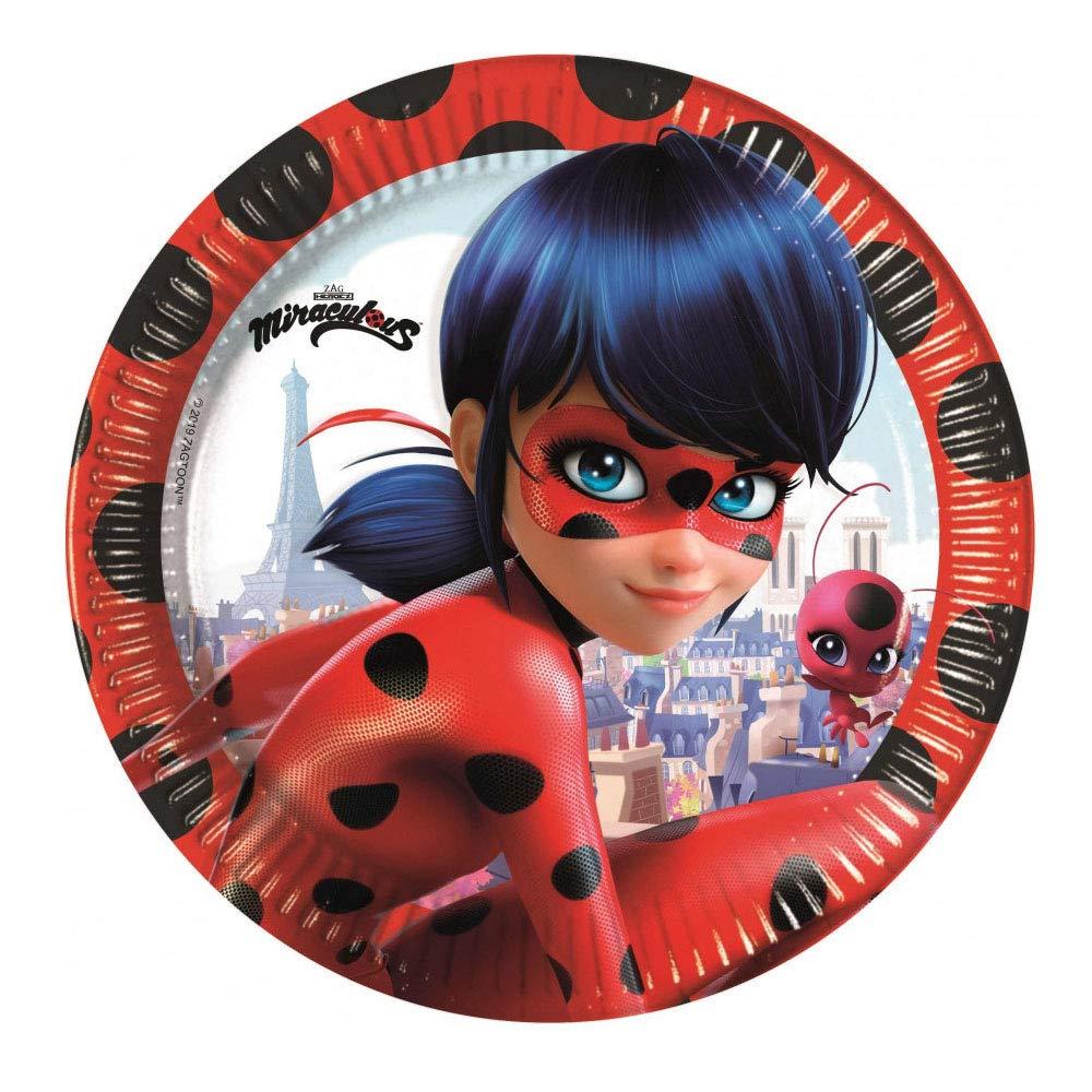 Prodotti sicuri con Licenza Zag. Miracolous Lady Bug Kit Festa 37 Pezzi Chat Noir Coordinato per 8 Bambini