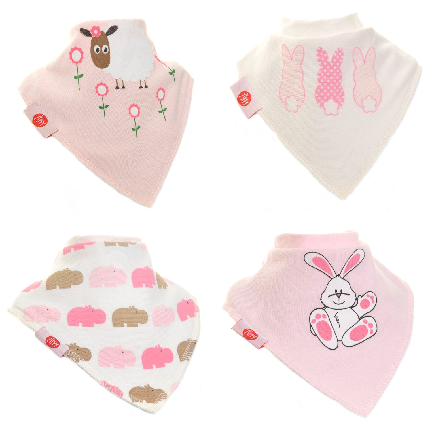 Fun Baby and Toddler Bandana Bib - Absorbent 100% Cotton Front Dribble Bibs with Adjustable Straps (4 Pack Gift Set) Girls Cute Pink