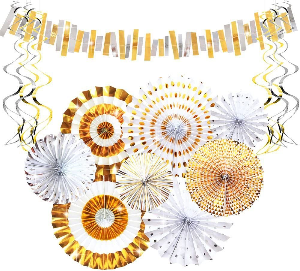 One Wall Decor Backdrop Hanging Paper Fans Blush Pink Wedding Party Decor Tissue Rosettes Party Birthday Gold Fans Photo Backdrop