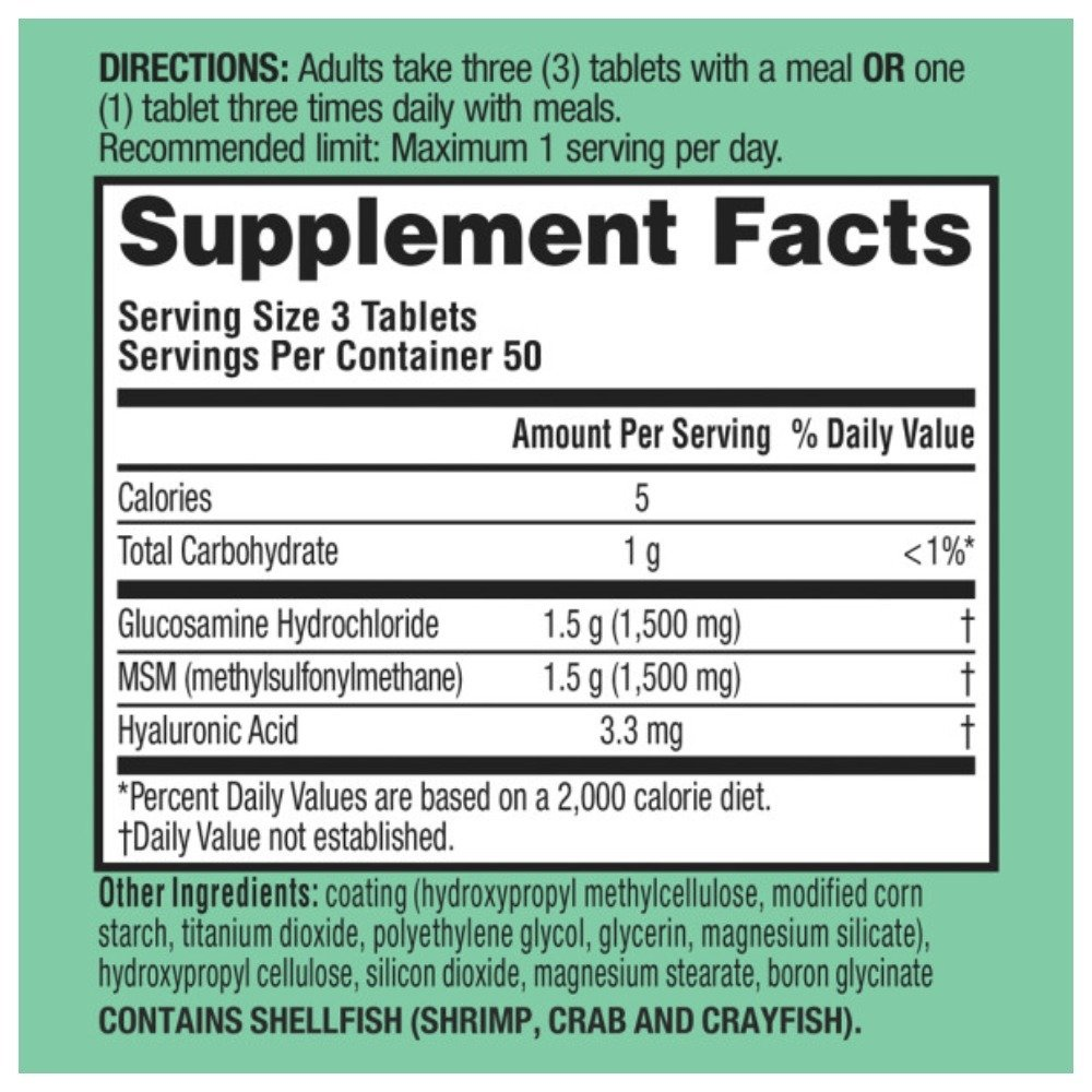 Schiff Glucosamine 1500mg Plus MSM and Hyaluronic Acid, 150 tablets - Joint Supplement (Pack of 6)