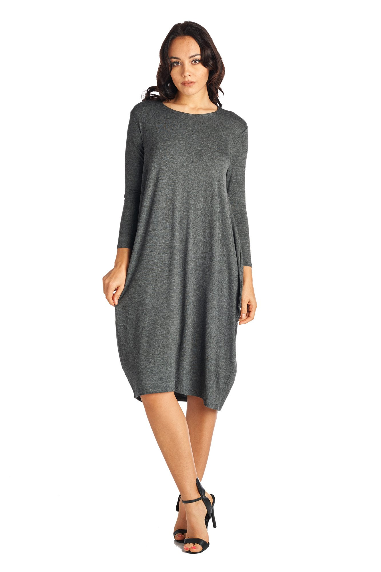 82 Days 82D-8255RS-CHC-MD Women's Rayon Span Long Sleeves Loose Fit Jersey Midi Dress - Solid