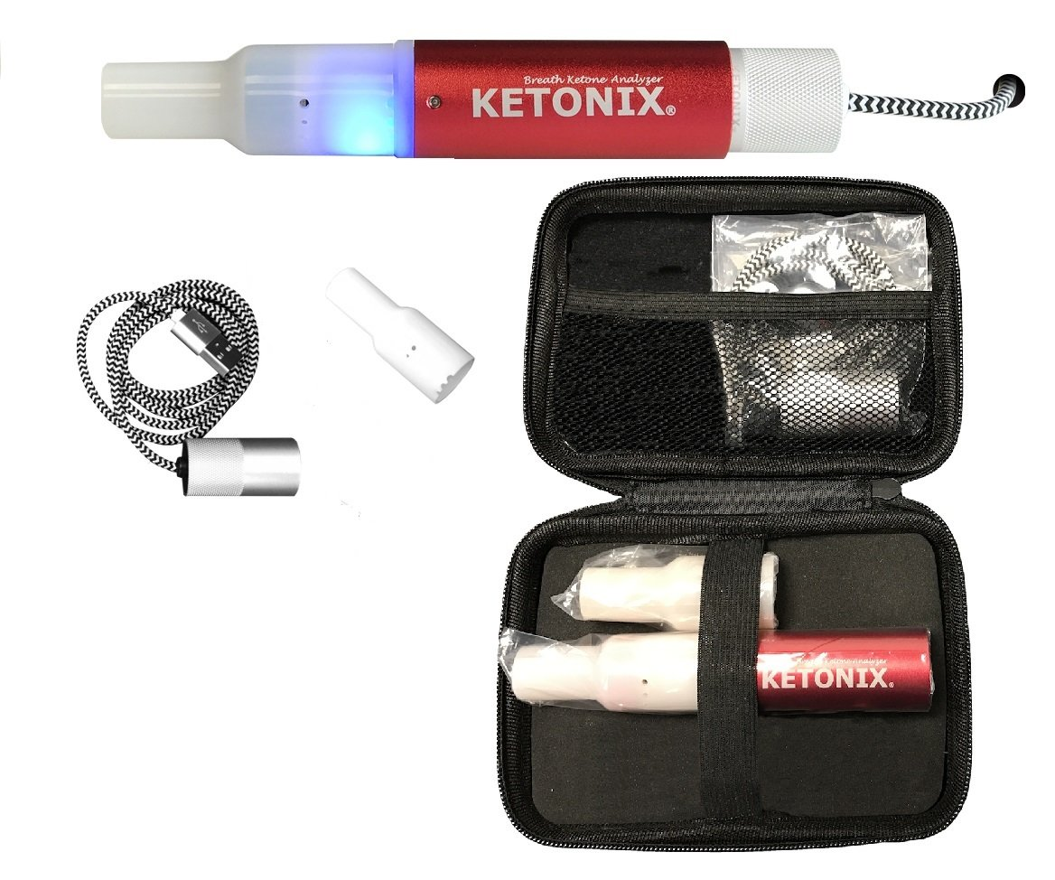 KETONIX USB Reusable Breath Ketone Level Analyzer with Painfree, no strips required, one time fee