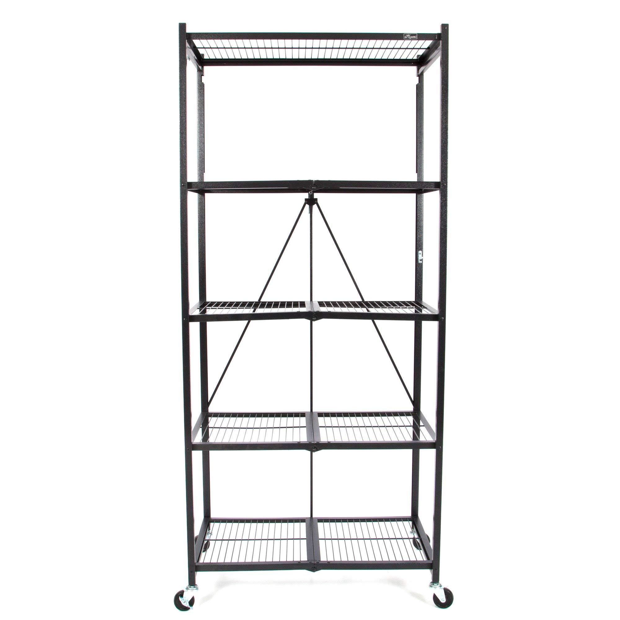 Origami Extra Large Wheeled 5-Shelf Folding Steel Wire Shelving, Black (21'' x 36'' x 78'')
