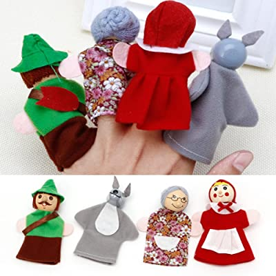 Hukai Little Red Riding Hood and Wolf Fairy Story Play Game Finger Puppets Toys Set: Toys & Games