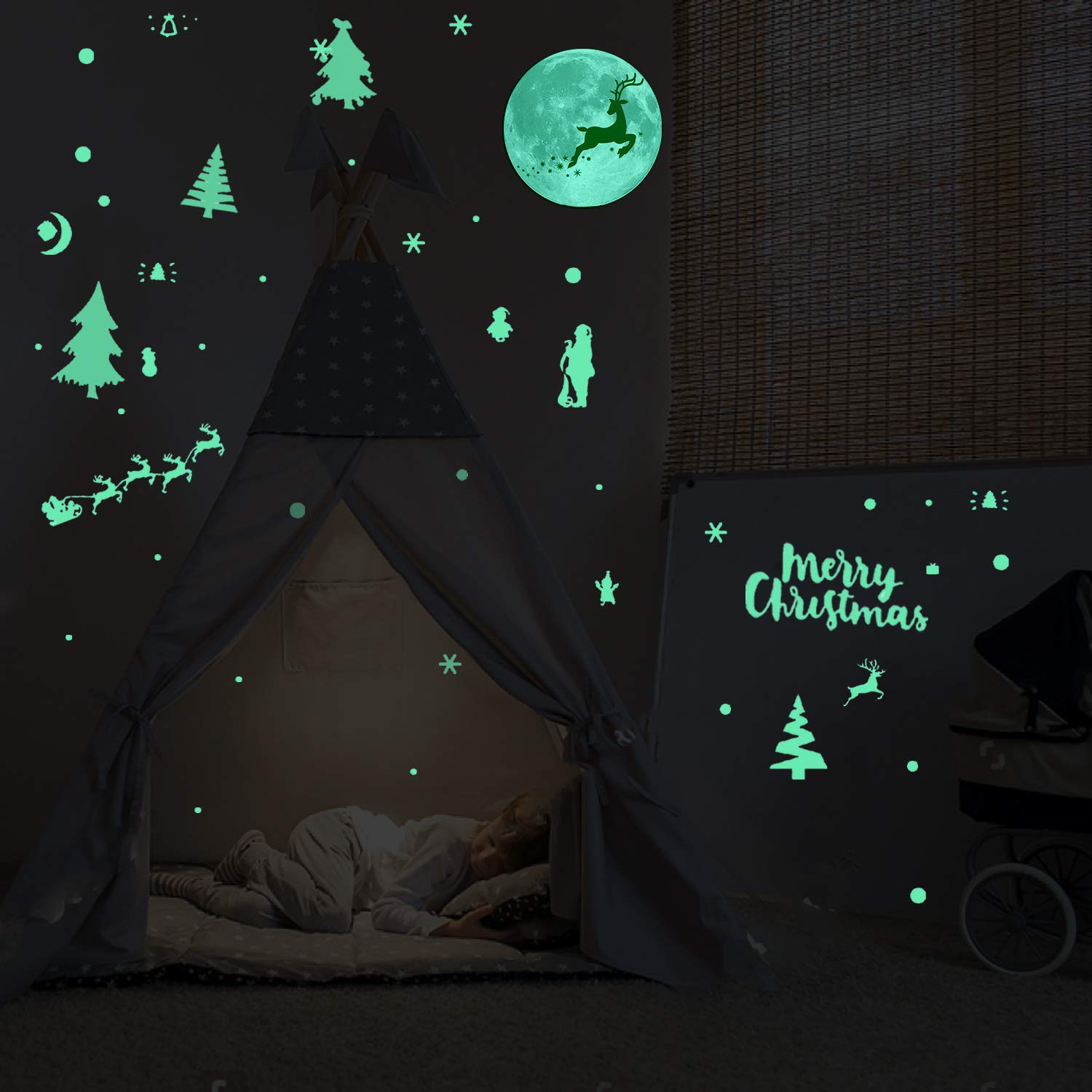Wall Window Decals for Christmas Decoration Starry Sky Kids Rooms Baby Bedroom Decor Birthday Gift Konsait Christmas Glow in The Dark Stars Wall Stickers Adhesive Fluorescent Glowing Stars Ceiling