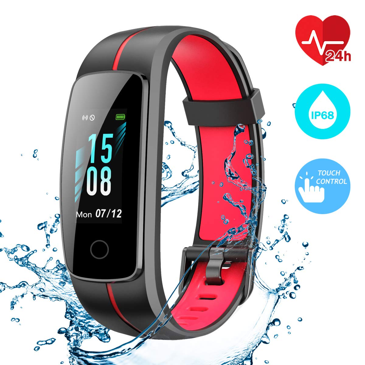 CHEREEKI Fitness Tracker, Waterproof IP68 Activity Tracker Touch Screen Smart Band with Heart Rate Monitor Sports Fitness Watch with Step Counter, ...