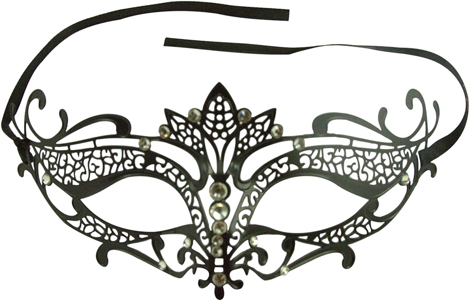 Beautiful Couple Black and Red Masquerade Mask with Clear and Red Rhinestones
