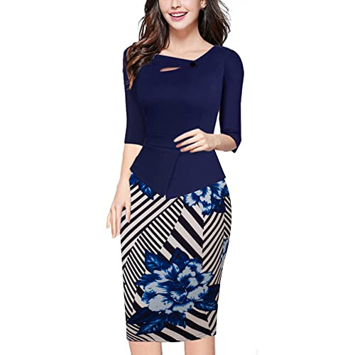 HOMEYEE Womens Vintage Cut Out Contrast Floral Evening Dress B288