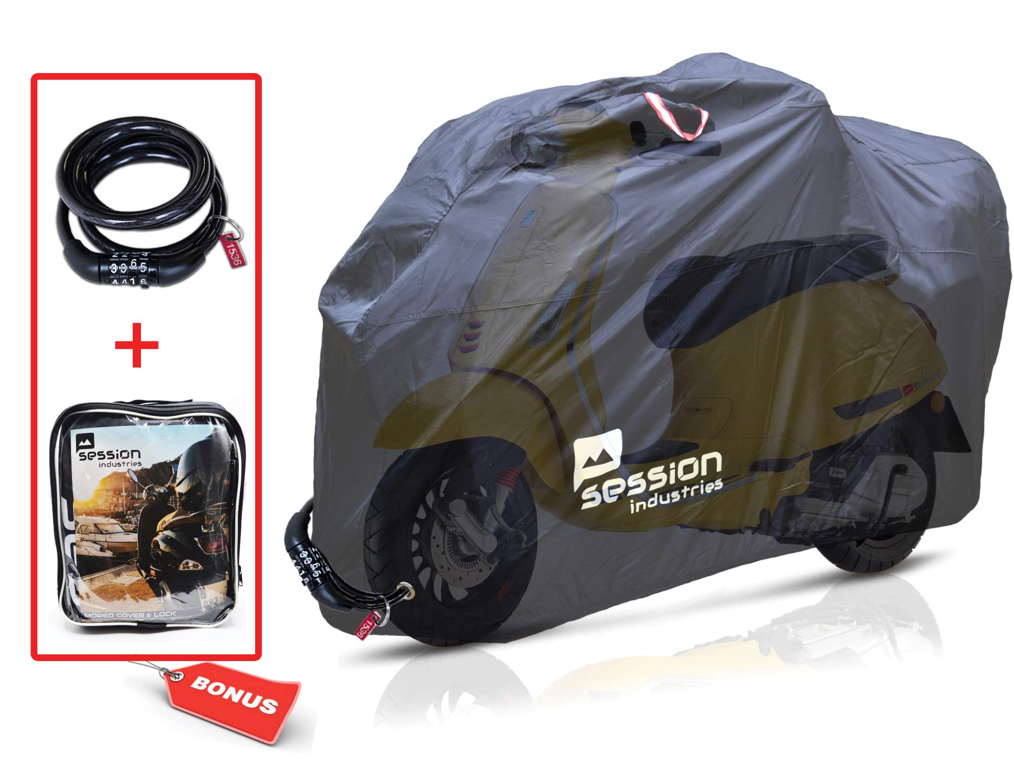 Motorcycle Cover For Moped Scooter - Waterproof Outdoor Bike Storage With Bonus Lock Heavy Duty Tarp Material Bicycle Covers UV Rain Dust Protection Dirt Bike 50cc Accessories by Session Industries Moped Scooter Storage Cover