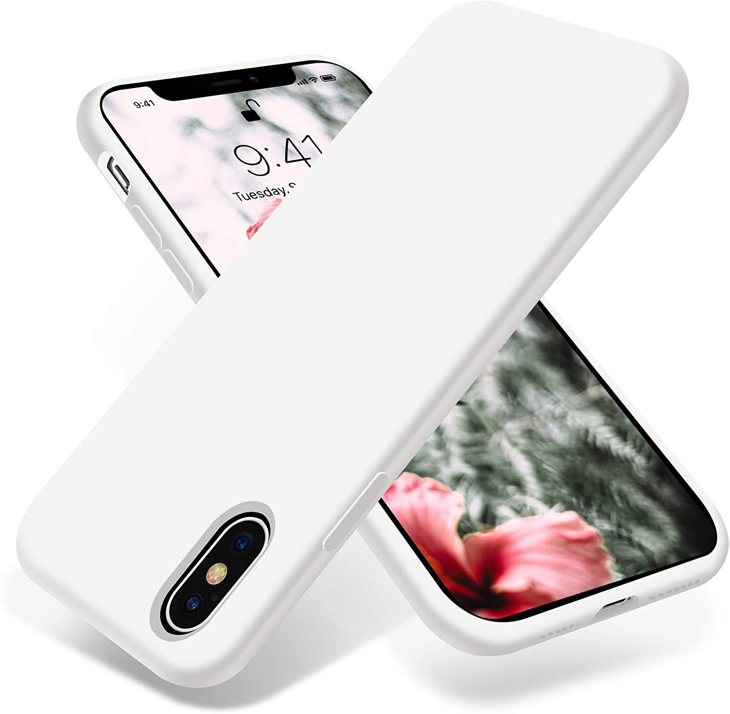 OTOFLY iPhone Xs Max Case,Ultra Slim Fit iPhone Case Liquid Silicone Gel Cover with Full Body Protection Anti-Scratch Shockproof Case Compatible with iPhone Xs Max, [Upgraded Version] (White)