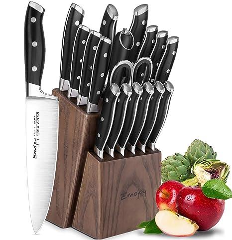 Emojoy Juego de Cuchillos de 18 Piezas, Juego de Cuchillos de Cocina de 18 Piezas con Bloque de Madera, Manual de autoafilado para Chef Set de ...