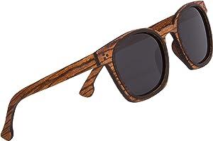 Woodies Full Wood Sunglasses Zebra Wood Three Dot Style