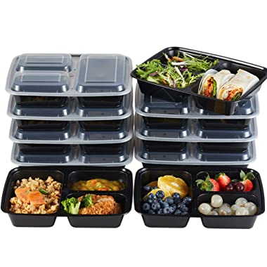 Nutribox 15 pack 32oz - three 3 compartment Plastic Food storage Containers with lids - BPA Free Reusable Lunch bento Box - Meal Prep Containers, Leak Proof Microwave, Dishwasher and Freezer Safe