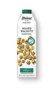 Elmhurst 1925 Unsweetened Walnut Milk, 32 Ounce (Pack of 6)