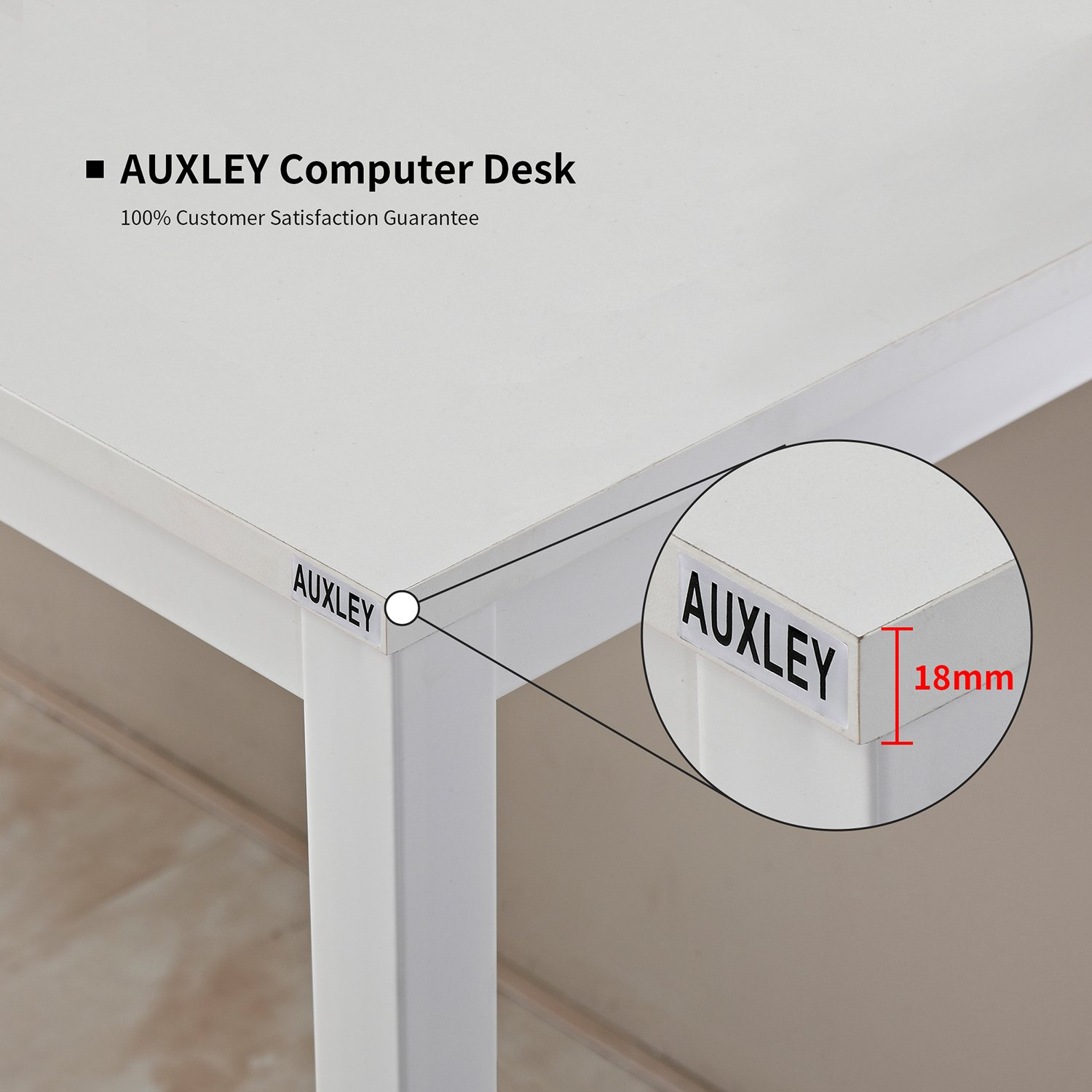 White Waterproof and Anti-Scratch Double Deck Wood and Metal Office Table AUXLEY Modern Simple Computer Desk for Home Study 55
