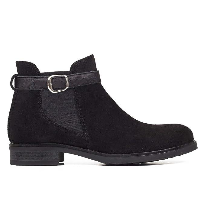 Moteros - Botines Tipo Chelsea con Adorno de Hebilla Negro: Amazon.es: Zapatos y complementos