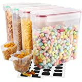 Cereal Container, VERONES Airtight Storage Containers Perfect for Flour Container Dry Food Storage Containers 4 piece (10 Chalkboard Labels & 2 Measuring Cups Included).