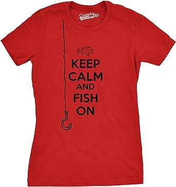Womens mantener la calma y peces en T Shirt Camiseta de Funny para mujer Going pesca