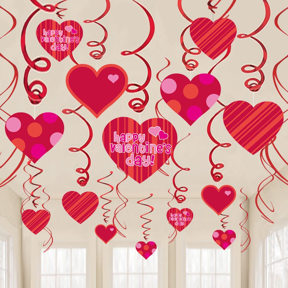 Valentines Day Hanging Heart Swirls Valentines Day Decorations, Party Swirl Ceiling Decor Ornaments Supplies//30Count