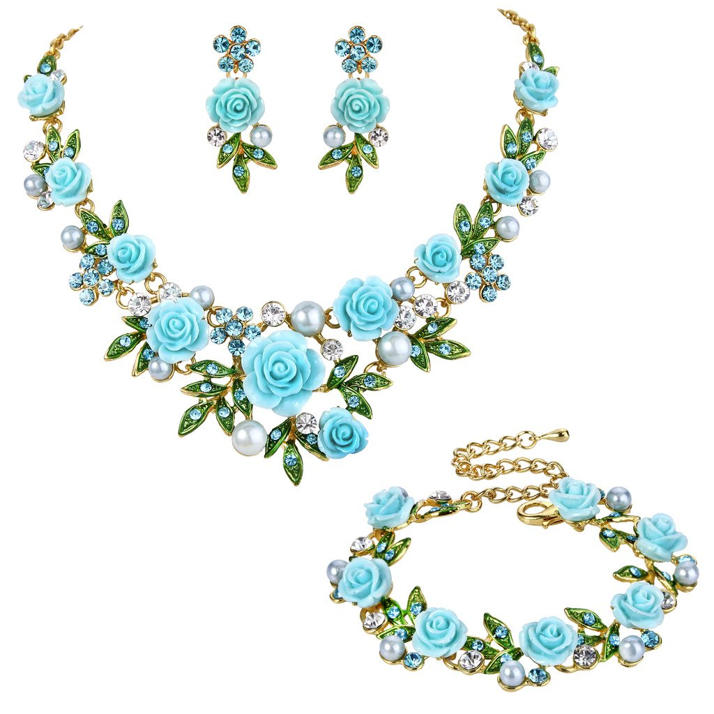 Ever Faith Crystal Simulated Pearl Rose Flower Leaf Necklace Earrings Bracelet Set Gold-Tone N09499-5