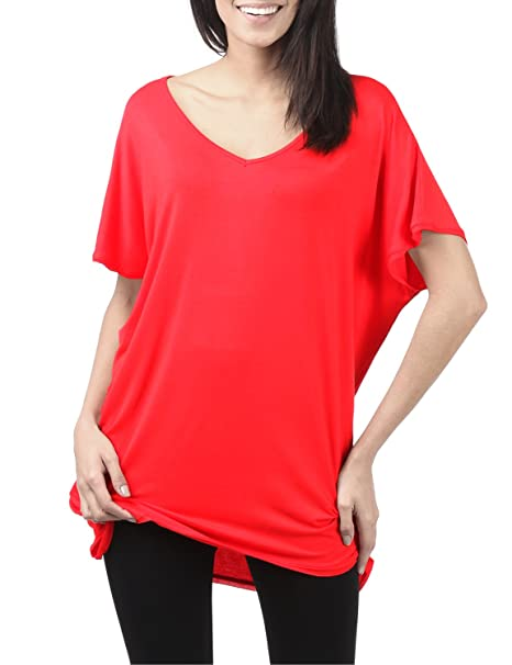 ef856bee639 TWINTH Tunic Top Plus Size Colorful Loose Fit Short Sleeve at Amazon ...