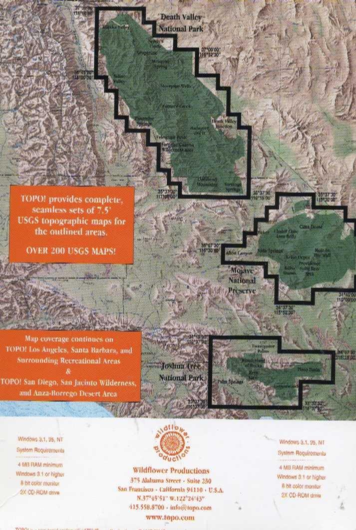 TOPO! Interactive Maps on CD-ROM: Death Valley, Joshua Tree, East Mojave  Desert