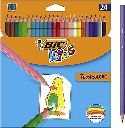BIC TROPICOLORS, Caja con 24 Lápices de Colores, 24, Multicolor: Amazon.es: Oficina y papelería