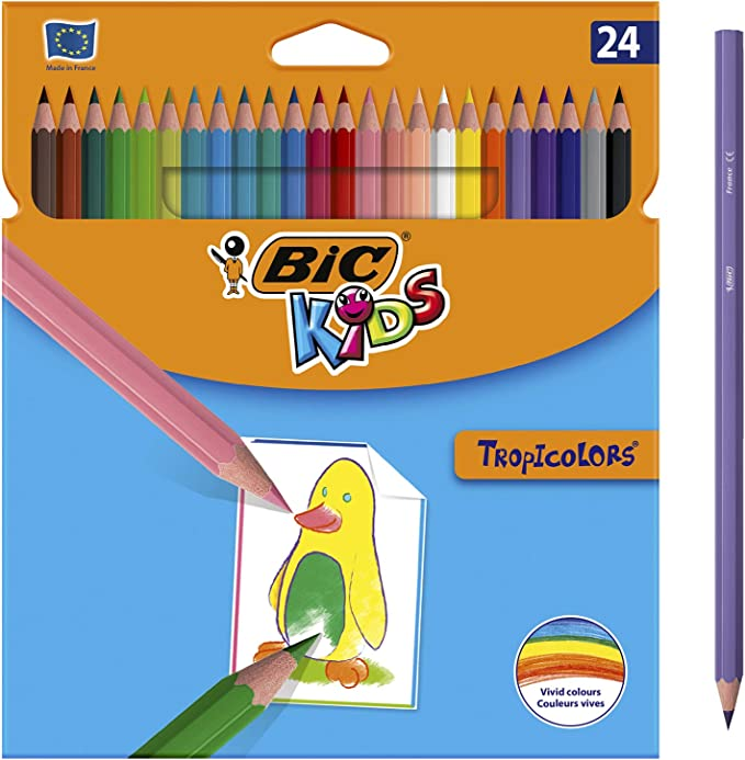 BIC Kids Tropicolors Colouring Pencils - Assorted Colours, Wallet of 24,BiC,9375182