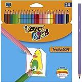 BIC Kids Tropicolors Lápices de Colores (2,9mm) - Colores Surtidos, Caja de 24 Unidades