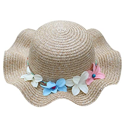 Cute Kids Summer Crochet Straw Beach Sun Hat With Flowers Apparel Accessories
