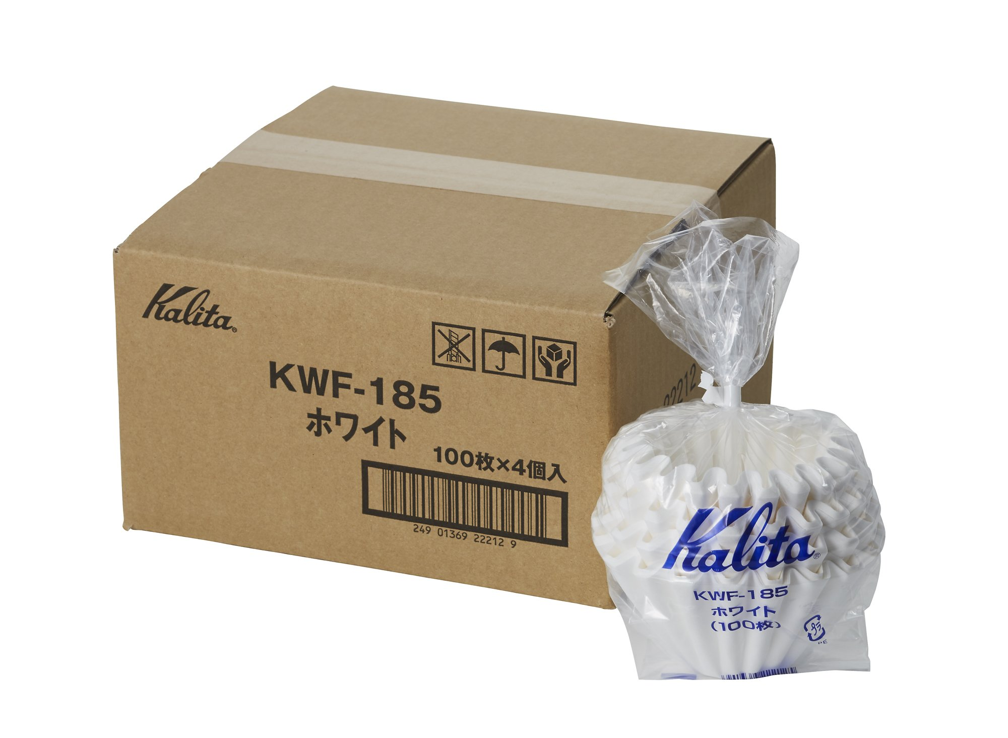 [4set]Kalita New Wave Filter KWF-185 White #22212[Dripper 185 / for 2~4 Persons] 100pcs×4 with an Original Paperclip