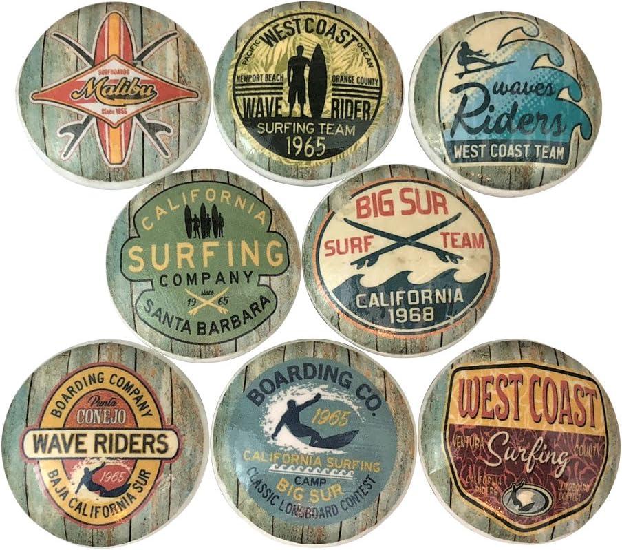 Set of 8 Surf Shop Nautical Wood Cabinet Knobs