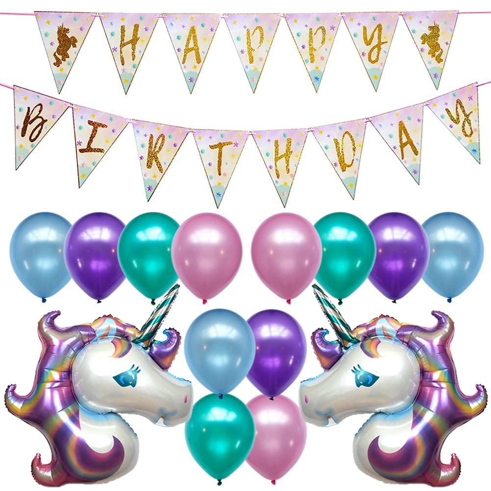 Unicorn Birthday Party Decorations Banner Decor Supplies Set Kit Favors | 2PC Foil Balloon | 12PC Helium Pastel Balloons w/Gold Ribbon | for Boy Girl 1st 2nd 3rd 10th 13th 20th | Sparkle Flag Glitter