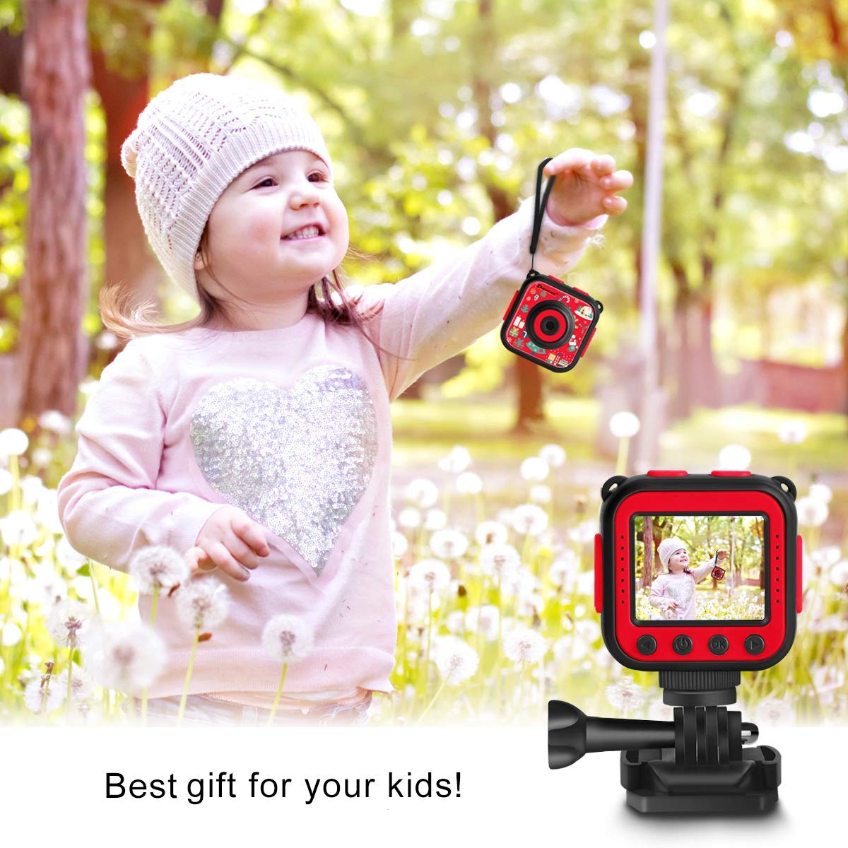Prograce Kids Camera Underwater Waterproof Camera Camcorder for Boys Girls 4X Digital Zoom 3-Level Volume Adjustment(Red) by Prograce (Image #4)