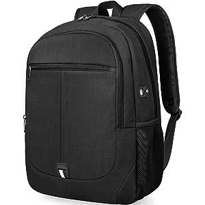 0da63d5fac NUBILY Sac à Dos Ordinateur Portable 15,6 Pouces Léger Imperméable PC  Collège École USB