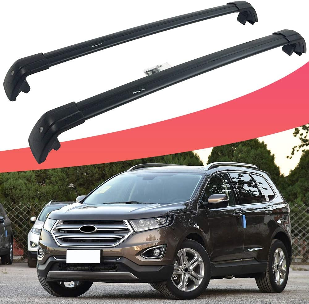 SnailAuto Fit for Ford Edge 2017 2018 2019 Black Roof Rack Rail Adjustable Lockable Cross Bar