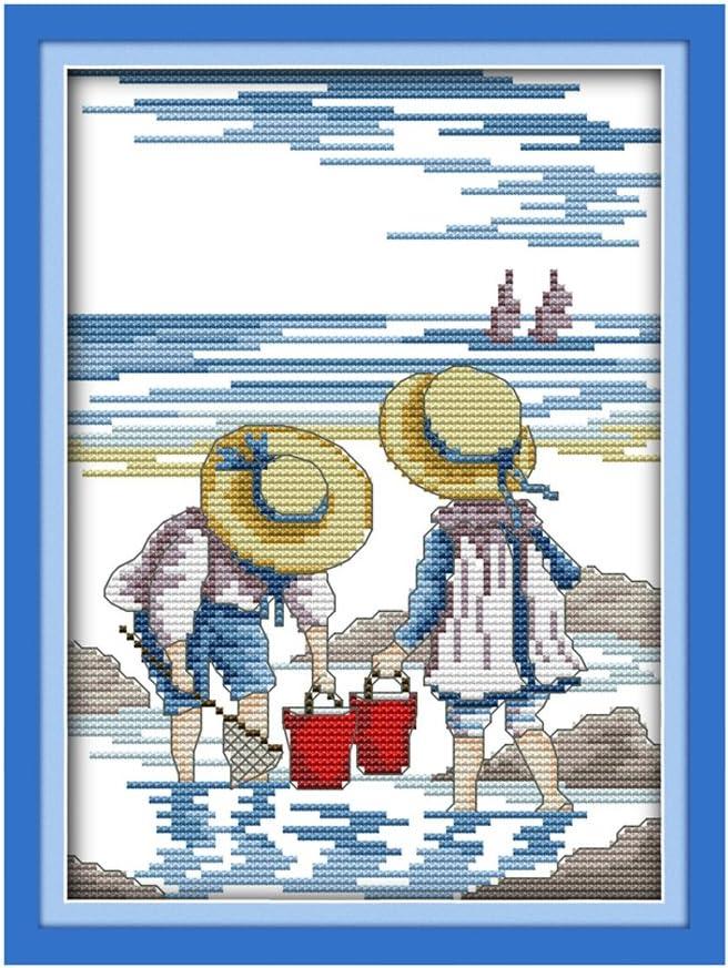 Kits de punto de cruz con sello para principiantes pesca acurato preimpreso punto de cruz