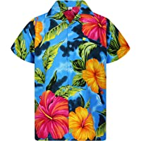 Funky Hawaiian Shirt Big Flower lightblue L
