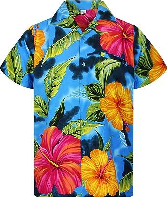 Original King Kameha | Funky Camisa Hawaiana | Señores | XS - 6XL | Manga Corta | Bolsillo Delantero | Impresión de Hawaii | Big Flower: Amazon.es: Ropa y accesorios