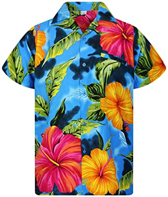 47078778 V.H.O. Funky Hawaiian Shirt   Men   XS-12XL   Short-Sleeve   Front-Pocket    Hawaiian-Print   Big Flower Summer   Multiple Colours: Amazon.co.uk:  Clothing