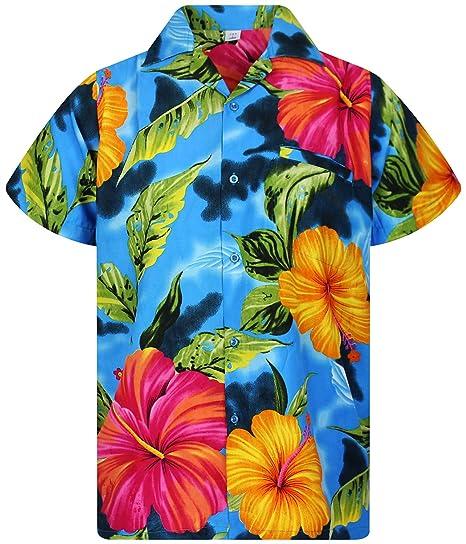 db78e7efc V.H.O. Funky Hawaiian Shirt Men Short-Sleeve Front-Pocket Big Flower  Multiple Colors