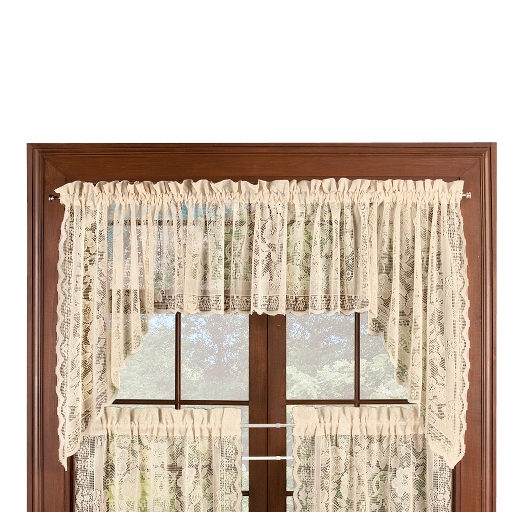 Collections Etc Floral Lace Cafe Curtain Window Swags Set of 2, Windsor - with Rod Pocket Top, Natural by Collections Etc