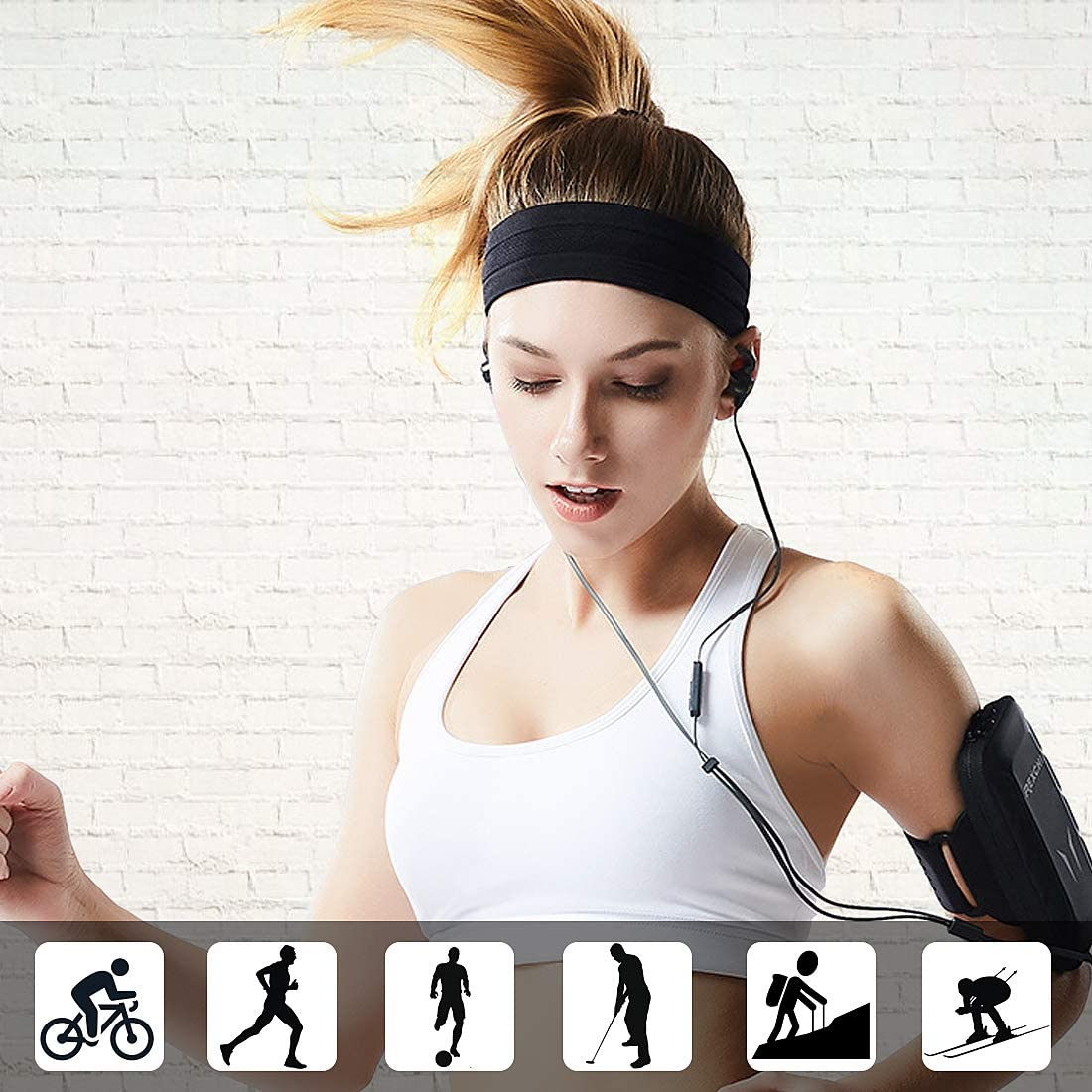 Workout Headbands for Women Men HLenyoy Sport Athletic Headband for Yoga Running Sports Travel 5 Pack